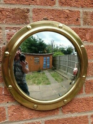 LOVELY VINTAGE 1930s BRASS & CONVEX GLASS PORTHOLE ROUND WALL MIRROR.