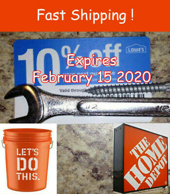 Twenty (20) Lowes 10% Competitors for Home Depot!  Expires MAY 15, 2020