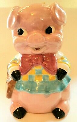 Vintage Piggy Bank - Sitting Pig with Dress, Bow & Purse