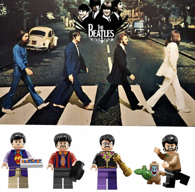 THE BEATLES MINIFIGURES Abbey Road Zebra Crossing gift MUSIC ROCK MINI FIGURES