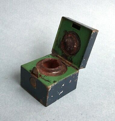 Victorian ANTIQUE TRAVELLING INKWELL small ink pot writing slope metal 19th c