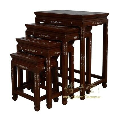 Antique Chinese Rosewood MOP Inlayed Nesting Table Set