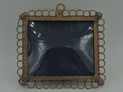 """Vintage English Ornate Brass Photo Frame w/Pearls 3 1/2"""" x 4 1/4"""" Picture"""