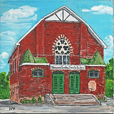 """WARKWORTH TOWN HALL, ACRYLIC PAINTING on Board (8"""" x 8"""") by IVAN TROTTER, Signed"""