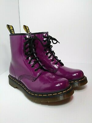 178893f68989f Doc Dr.Martens 8 Eye Purple Patent Leather Lace Up Boots Womens US 6 (
