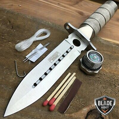 "8"" Tactical Fishing Hunting Survival Knife w Sheath Bowie Survival Kit CAMPING-h"