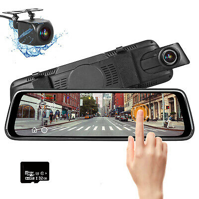 """10"""" HD Dual Lens Car DVR Mirror Dash Cam Front and Rear with 32GB Memory Card"""