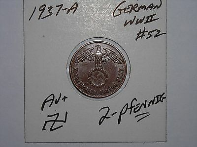 German Coin Lot #52 1937-A Third Reich Nazi 2 Reichspfennig Germany Ww2 Copper