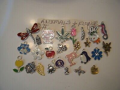 Metal Charms For Jewelry Making Lot Of 26 Animal & Flower Related
