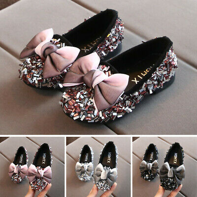 Toddler Infant Kids Baby Girl Bow Crystal Bling Casual Princess Shoes Loafers US