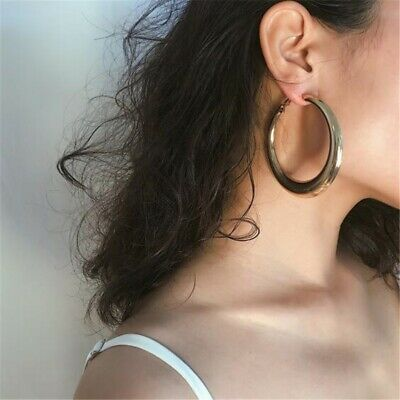 Lady Gold Plated Big Hoop Earrings Fashion Exaggerated Thick Round Women Jewelry