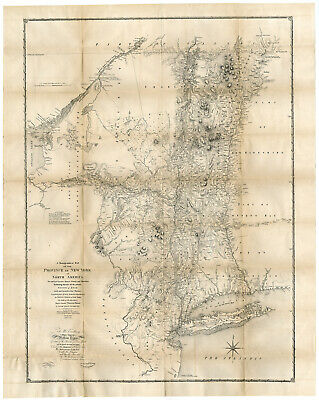 Antique Print-STATE OF NEW YORK-NORTH AMERICA-Sauthier-Vaughan-Pease-1849
