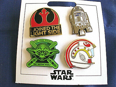 * STAR WARS - LIGHT SIDE * Disney Parks 4-Pin Set on Card Trading Pins Yoda R2D2