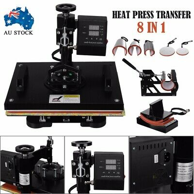 "12""x15"" 8 in 1 Heat Press Transfer T-Shirt Mug Cap Sublimation Printer Machine"