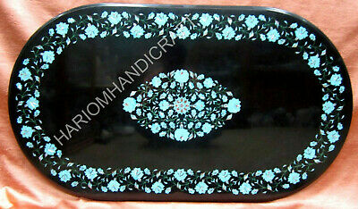 "24""x36"" Marble Oval Dining Table Top Turquoise Fine Marquetry Inlay Decor E1385"
