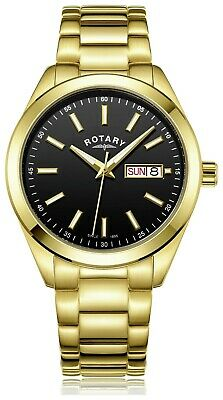 Rotary Men's Gold Plated Stainless Steel Bracelet Watch - Black Dial