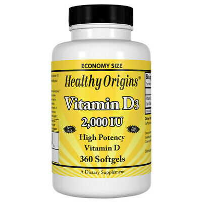 Vitamina D-3, 2000iu X 360 Cápsulas de Gel - Healthy Origins