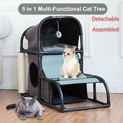 Pet Cat Kitten Bed House Climbing Tree Sisal Scratching Post Toy Activity Centre