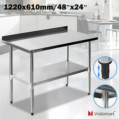 """48""""x24"""" Stainless Steel Work Bench Kitchen Catering Table Backsplash 2x4FT 1.2mm"""