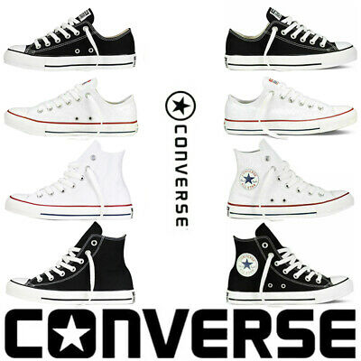 Converse Lo Hi Top Mens Womens Unisex All Star White Chuck Taylor Trainers Shoes