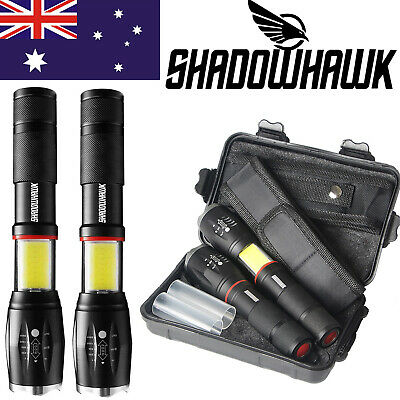 Shadowhawk CREE LED Flashlight 2Pcs 20000lm USB Rechargeable Camping Torch Lamp