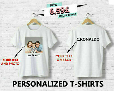 Personalised Tshirt Printed Photo Print Your Image Crew Neck Men Summer Top Tees