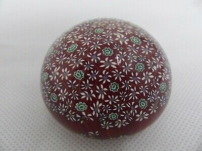 Murano Art Glass Vintage Millefiori Paperweight in Plum & Green Colours (CR127)