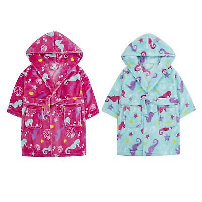 Childrens / Girls Seahorse / Under The Sea Print Fleece Dressing Gown ~2-6 Years