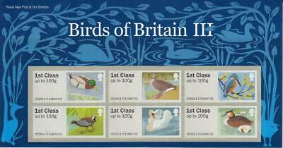 Gb 2011 Birds Of Britain 3 Post And Go Stamps Presentation Pack P&G Fs16 See #16