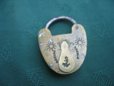"""Vintage Brass Padlock Marked """"Secure"""" and with an Anchor"""