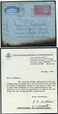 GB 1968 9d Burnt Airletter from London on BOAC Flight 712 Crashed at Heathrow