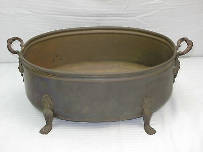 Vintage Oval Brass Footed Planter Trough w/ Side Handles (670)