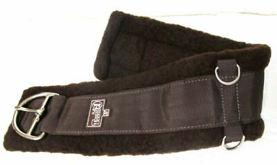 """32/"""" Western Thick Soft Fleece Super Girth Cinch w Stainless Dee Rings BROWN"""
