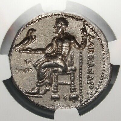 NGC CH XF. Alexander The Great Tetradrachm. Spectacular ancient Greek coin