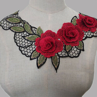 1pc Red Floral Lace Collar Trim Embroidery Neckline Applique Patch Sewing Craft