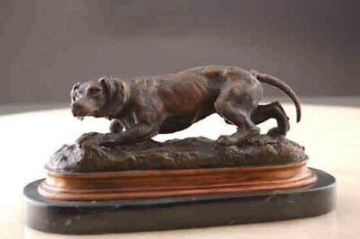 Hunting Dog Sculpture Bronze w/ Marble Base Signed