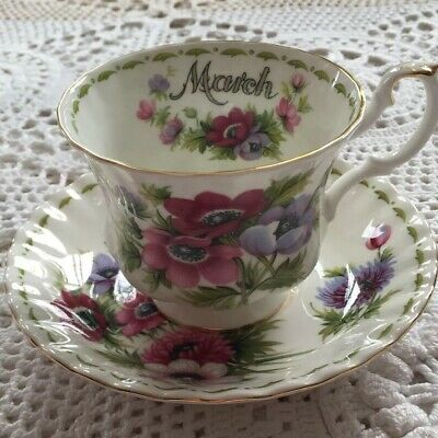 Royal Albert Flower Of The Month March Anemomes Tea Cup And Saucer