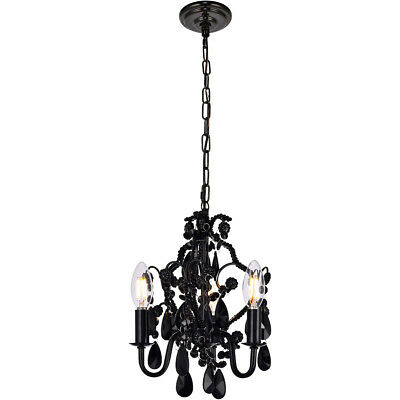 "3 Light 12"" Shabby & Chic Black Crystal Pendant Bedroom Kitchen Foyer Chandelier"