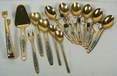 Vintage Soviet Russia USSR .875 Silver Spoons Gold Layered Set (325 grams)