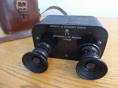 "ANTIQUE ""ZONAC"" BINOCULARS by AITCHISON 1905 - FINE CONDITION + ORIGINAL CASE"