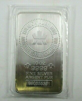 Royal Canadian Mint 10 Ounce 9999 Fine Silver Bar Serial #990655391 Sealed