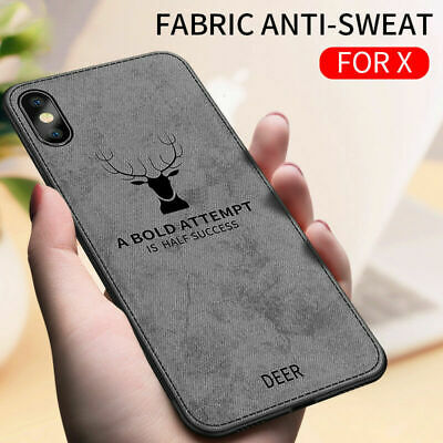 For iPhone 6 7 8 Plus X XS MAX XR Shockproof 3D Deer Canvas Soft TPU Back Case