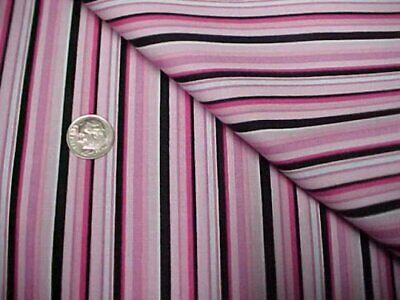 Cotton Fabric Quilt Doll Sew Material Black White PINK Stripes Craft Estate Find