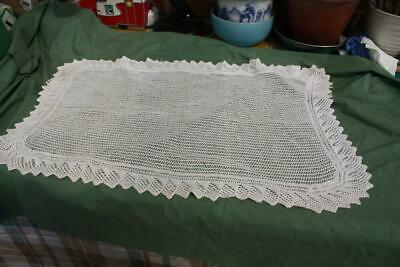Vintage White Cotton Hand Knitted Lace Table Mat,Centre,Small Table cloth