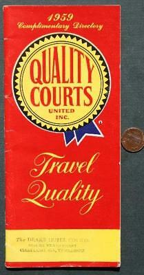 1959 Quality Courts Motel Chain brochure & foldout map-Chattanooga,Tennessee!*
