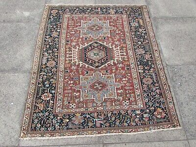Antique Worn Traditional Hand Made Oriental Red Pink Wool Small Rug 140x118cm