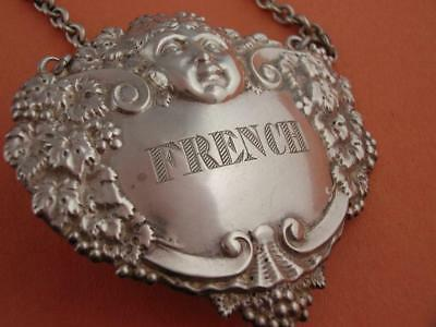 English Sterling Silver Liquor Tag Label Turner & Simpson FRENCH Bacchus Grapes