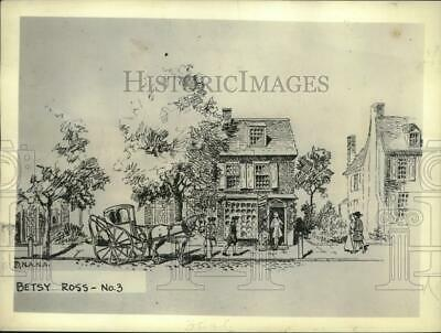 1933 Press Photo Drawing of Betsy Ross House in Philadelphia in Colonial Days