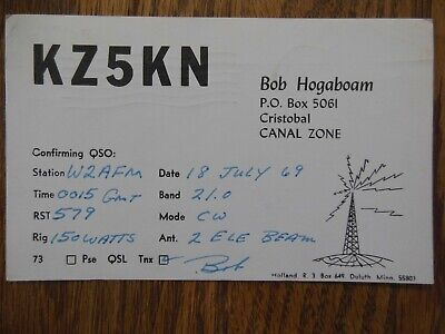 Cristobal, Canal Zone - Canal Zone Stamp - KZ5KN - QSL Card - 1969