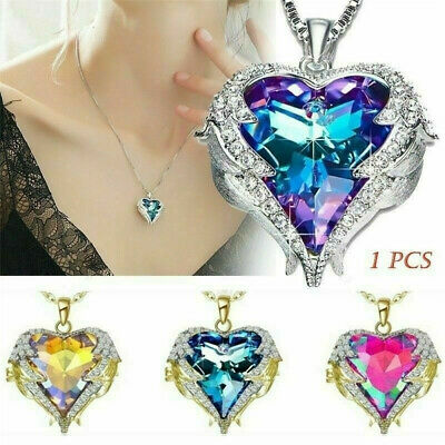 925 Silver Angel Wing Necklace Heart Crystal Rhinestone Chain Pendant Jewelry